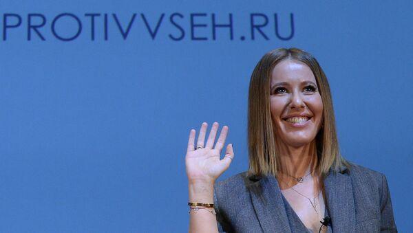 Телеведущая Ксения Собчак, заявившая о намерении баллотироваться на пост президента России, на пресс-конференции в Москве. Архивное фото