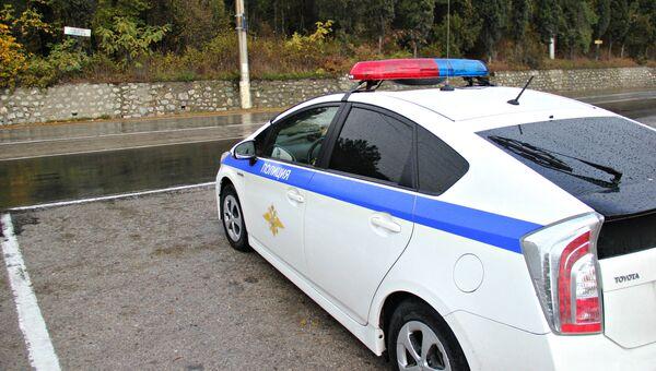 Полицейская машина в селе Виноградное, где произошло повреждение газопровода. 1 ноября 2017
