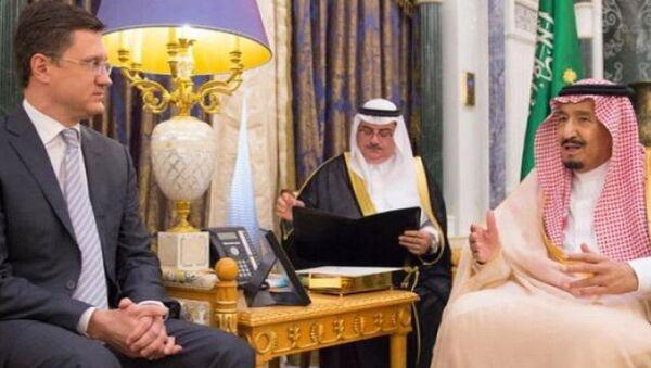 Александр Новак и Король Саудовской Аравии Сальман Аль Сауд во время встречи. 2 ноября 2017