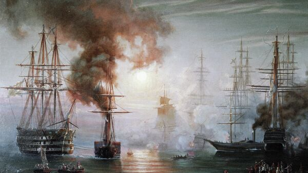 Репродукция картины Возвращение в Севастополь эскадры Черноморского флота после Синопского боя работы художника Н.П. Красовского
