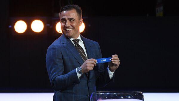 Ассистент жеребьевки итальянский футболист и тренер Фабио Каннаваро на официальной жеребьевке чемпионата мира по футболу 2018