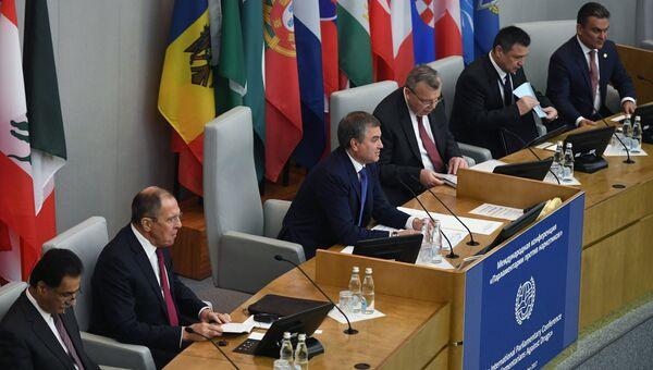 Председатель ГД РФ Вячеслав Володин на Международной конференции Парламентарии против наркотиков. 4 декабря 2017