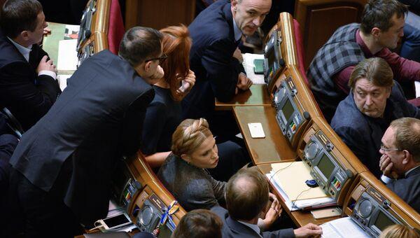 Лидер всеукраинского объединения Батькивщина Юлия Тимошенко на заседании Верховной рады Украины в Киеве. Архивное фото