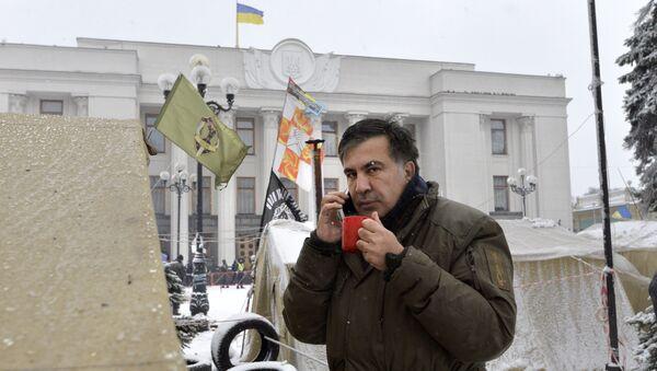 Михаил Саакашвили в палаточном лагере у здания Верховной Рады в Киеве. 6 декабря 2017