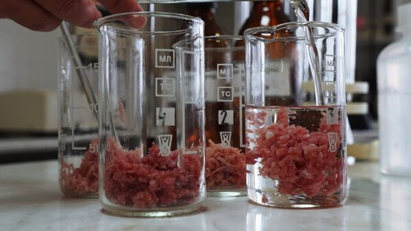 В лаборатории предприятия во время производства мясных деликатесов компании Калининградский деликатес