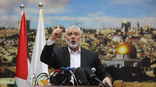 Лидер ХАМАС Исмаил Хания выступает по поводу решения президента США Дональда Трампа признать Иерусалим столицей Израиля. 7 декабря 2017