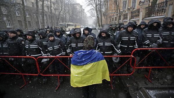 Участник акции протеста в Киеве