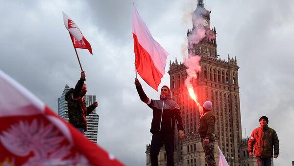 Участники демонстрации в честь Дня независимости в Варшаве, Польша. Архивное фото