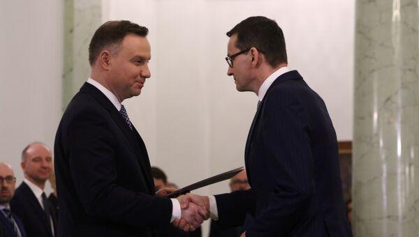 Президент Польши Анджей Дуда и назначенный премьер-министр Польши Матеуш Моравецкий в Варшаве, Польша. 11 декабря 2017