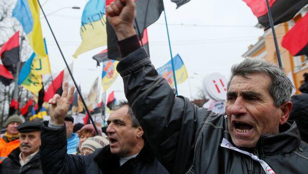 Сторонники Михаила Саакашвили во время акции протеста в Киеве, Украина. 17 декабря 2017