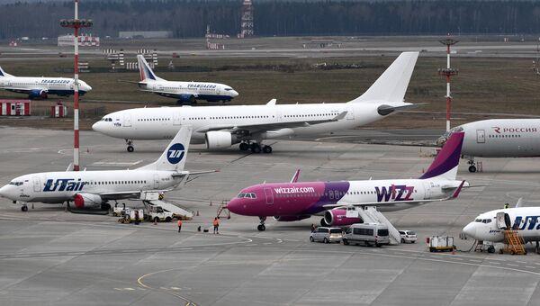 Самолет авиакомпании Wizz Air, совершивший первый рейс по маршруту Москва-Дебрецен, в аэропорту Внуково