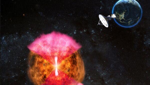 Так художник представил себе «кокон» из горячей материи, возникающий после столкновения нейтронных звезд