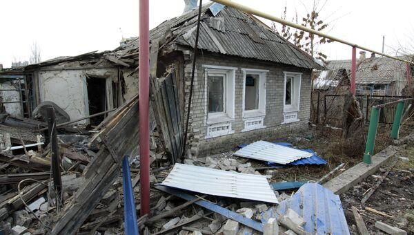 Частный жилой дом, пострадавший в результате обстрела. 21 декабря 2017