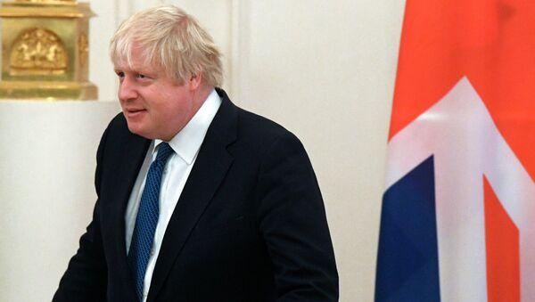 Министр иностранных дел Великобритании Борис Джонсон во время встречи с министром иностранных дел России Сергеем Лавровым