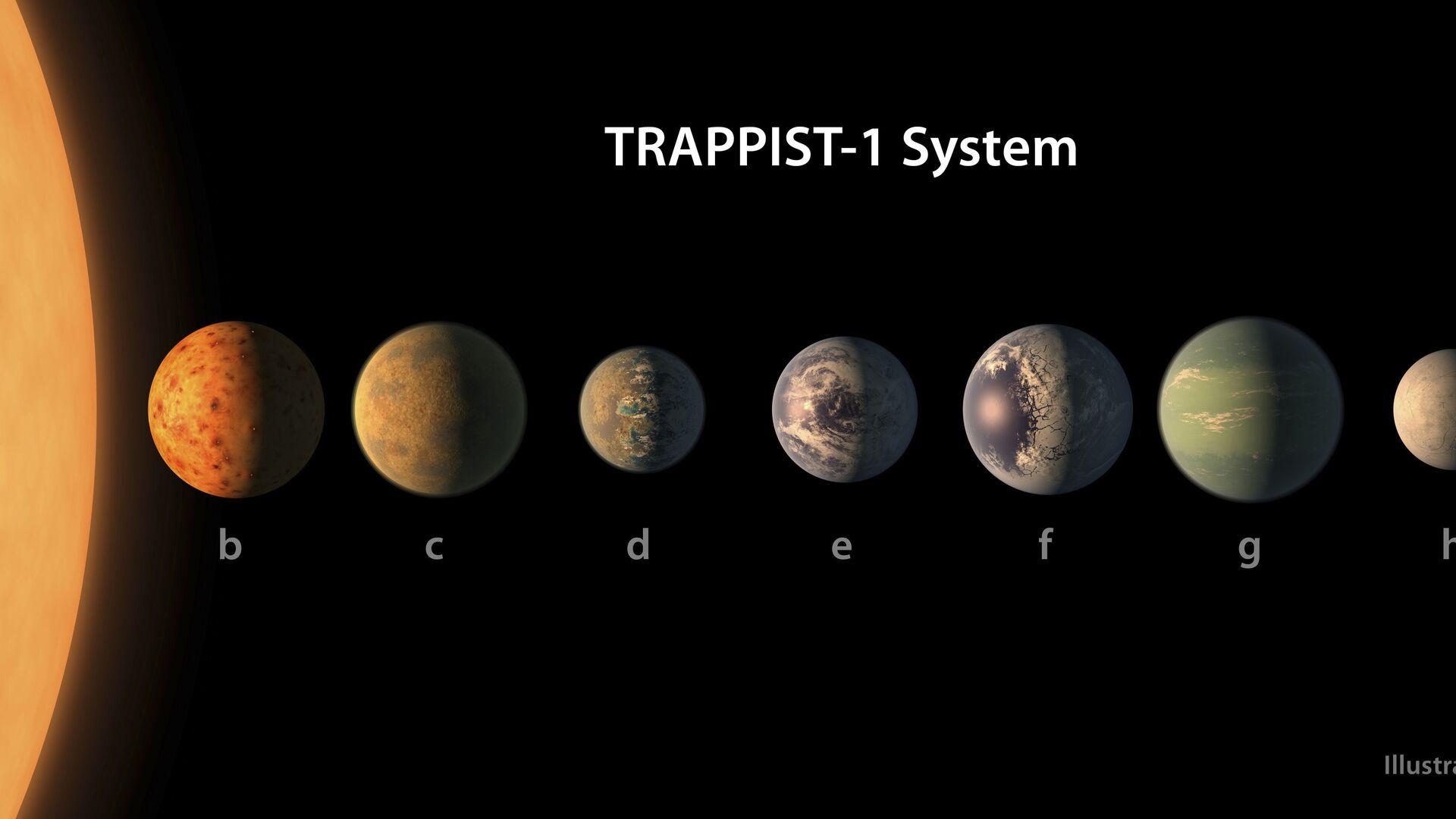 Представление художника о том, как выглядит планетная система TRAPPIST-1 - РИА Новости, 1920, 31.07.2020