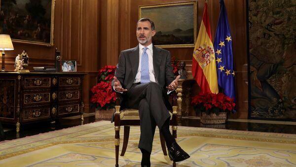 Король Испании Фелипе VI обращается с традиционной рождественской речью в Дворец Зарзуэла в Мадриде, Испания. 23 декабря 2017