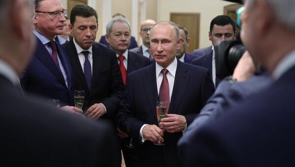 Владимир Путин во время встречи с избранными главами регионов и губернаторами. 27 декабря 2017