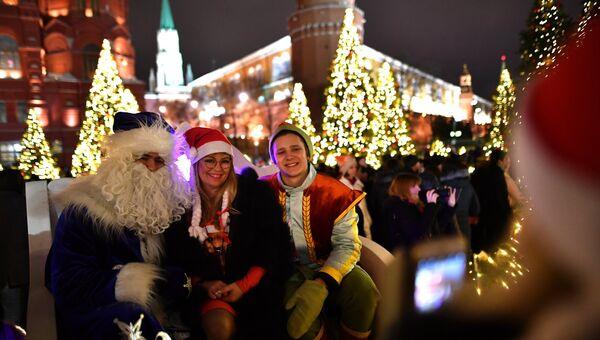Во время празднования Нового года в Москве. Архивное фото