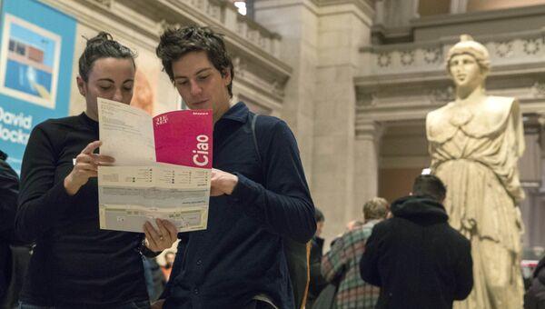 Итальянские туристы в Музее искусств Метрополитен. 4 января 2018