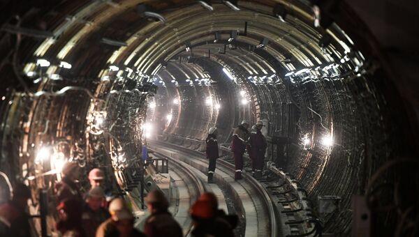 Тоннель строящейся станции московского метро Окружная