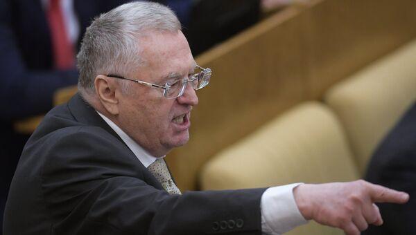 Лидер ЛДПР Владимир Жириновский на пленарном заседании Государственной Думы РФ. 10 января 2018