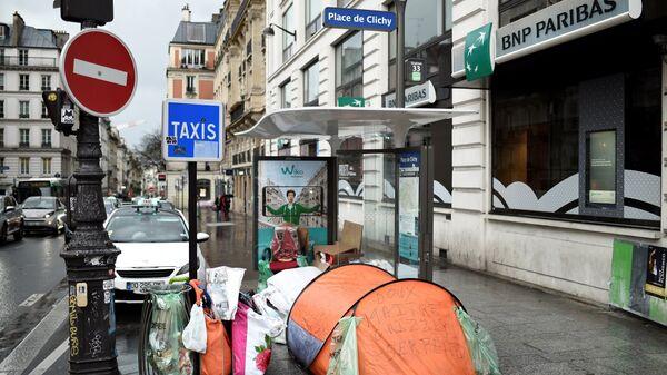 Палатки бездомных во Франции