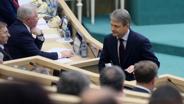 Министр сельского хозяйства РФ Александр Ткачёв на заседании Совета Федерации РФ. 17 января 2018