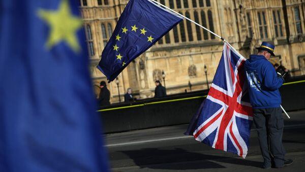 Демонстрант с флагами ЕС и Великобритании в центре Лондона