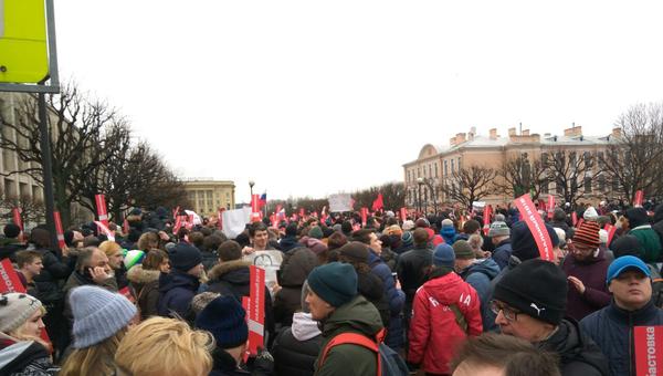 Участники несанкционированной акции в Санкт-Петербурге в рамках Забастовки избирателей. 28 января 2018