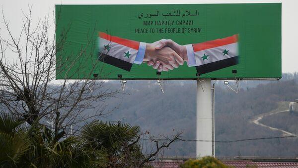 Баннер с информацией о проведении Конгресса сирийского национального диалога в аэропорту Сочи. 29 января 2018