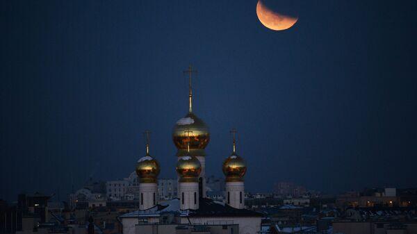 Суперлуние и частичное затмение луны, наблюдаемые в Санкт-Петербурге. 31 января 2018