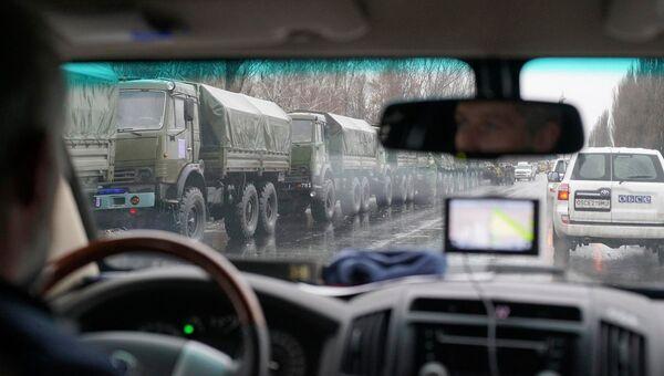 Военная техника и автомобили ОБСЕ в Луганске. Архивное фото