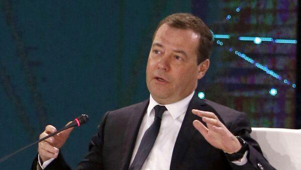 Дмитрий Медведев на пленарной сессии международного форума Цифровая повестка дня в эпоху глобализации в Алма-Ате. 2 февраля 2018