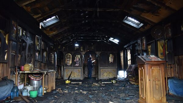 Деревянная церковь святого князя Владимира Украинской православной церкви Московского патриархата во Львове, в которой ночью 3 февраля произошел пожар