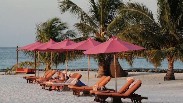 Пляж одного из Мальдивских островов