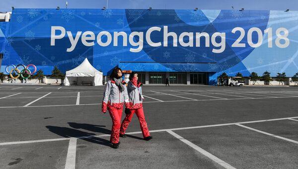 Волонтеры XXIII зимних Олимпийских игр в Олимпийском парке в Канныне. Архивное фото