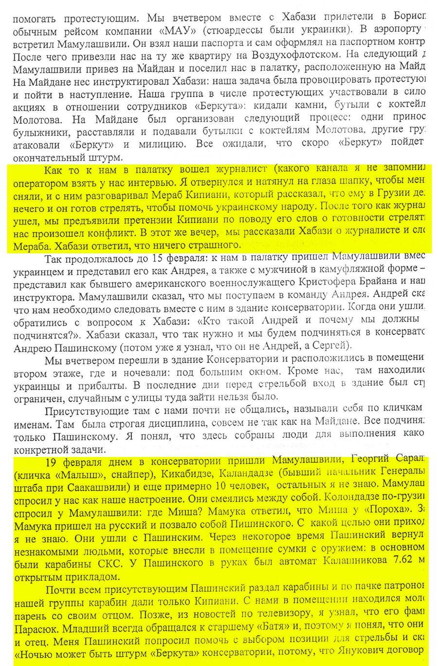 Протокол опроса Александра Ревазишвили