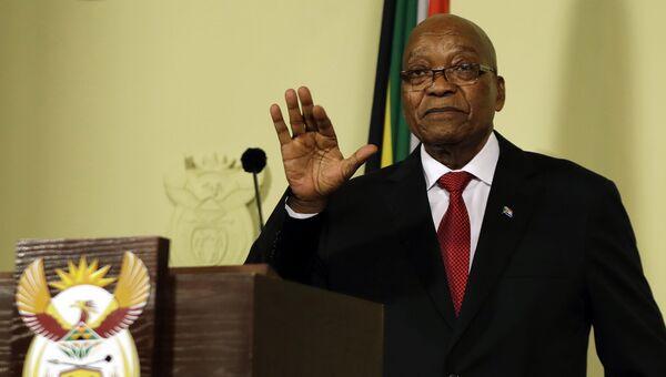 Президент Южно-Африканской Республики Джейкоб Зума во время обращения к нации в зданияхиСоюза правительства в Претории& Южная Африка& 14 февраля 2018