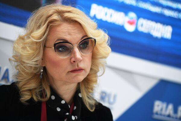 Председатель Счетной палаты РФ Татьяна Голикова во время интервью сайту RIA.ru на Российском инвестиционном форуме в Сочи