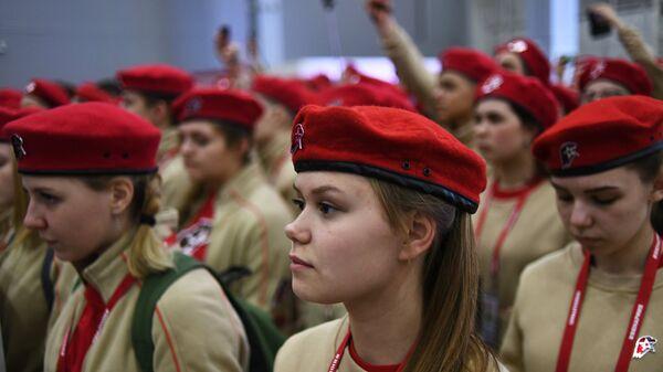Участники первого Всероссийского молодёжного патриотического форума Я – Юнармия! в военно-патриотическом парке Патриот в Московской области. 22 февраля 2018