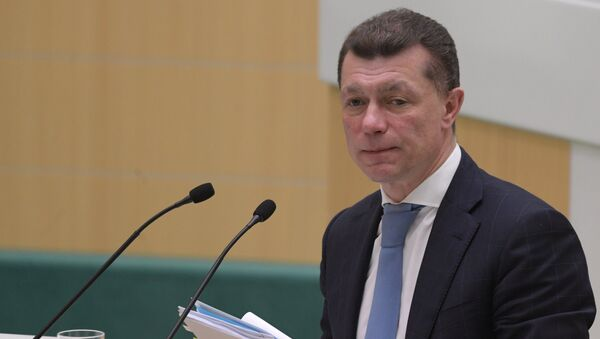 Министр труда и социальной защиты РФ Максим Топилин на заседании Совета Федерации РФ. 28 февраля 2018