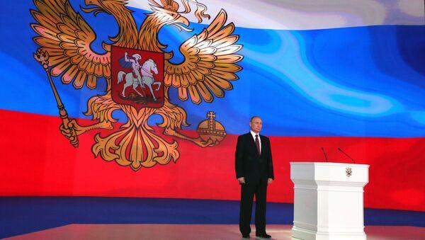 Президент РФ Владимир Путин после выступления с ежегодным посланием Федеральному Собранию в ЦВЗ Манеж. 1 марта 2018
