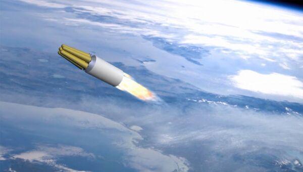 Демонстрация принципа действия ракетного комплекса стратегического назначения Сармат во время послания президента РФ Владимира Путина Федеральному собранию