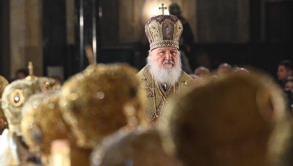 Патриарх Московский и всея Руси Кирилл во время божественной литургии в кафедральном соборе князя Александра Невского в Софии. 4 марта 2018