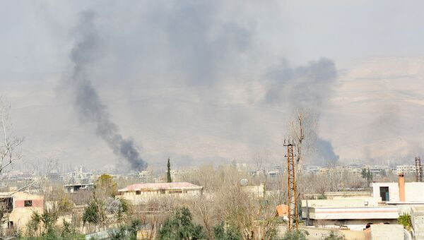 Дым над Восточной Гутой, Сирия. 11 марта 2018