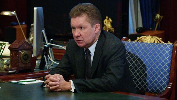 Председатель правления компании Газпром Алексей Миллер во время встречи с председателем правительства РФ Дмитрием Медведевым. 13 марта 2018