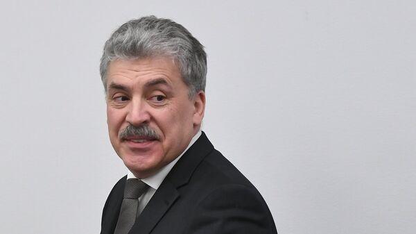 Павел Грудинин на пресс-конференции КПРФ по итогам голосования на выборах президента РФ. 19 марта 2018