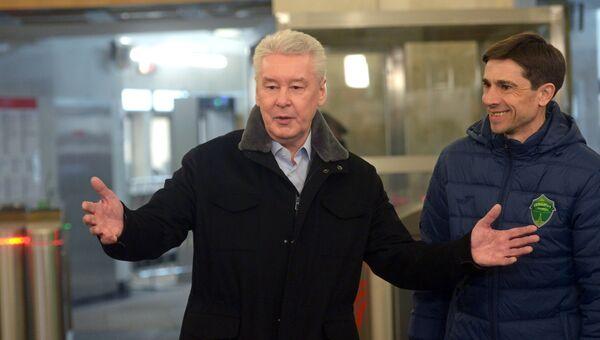 Мэр Москвы Сергей Собянин на открытии южного вестибюля станции метро Спортивная