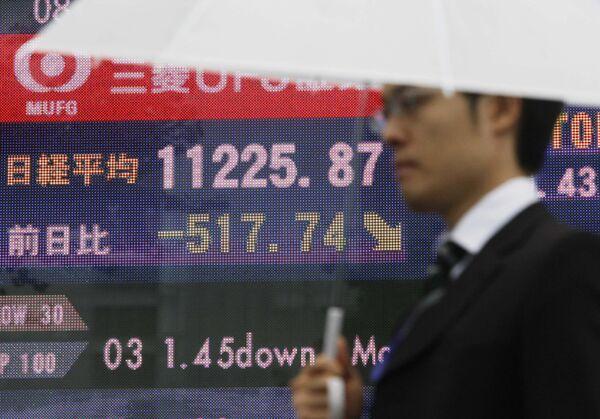Падение фондовых индексов на Токийской бирже. Архив