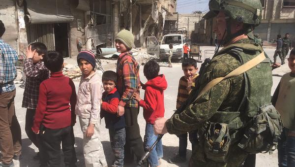 Освобожденный населенный пункт Сакба в Восточной Гуте, Сирия. 23 марта 2018